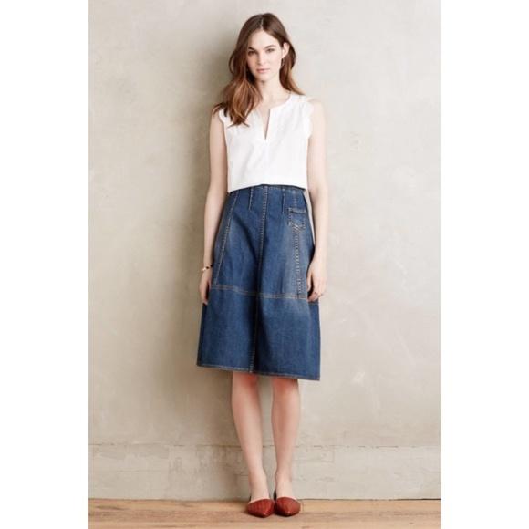 Anthropologie Dresses & Skirts - Anthropologie Holding Horses Pieced Denim Skirt